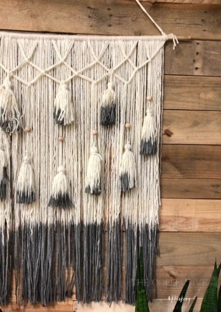 Boho yarn tassel and bead wall hanging Jennifer Rizzo at The Collective lhe + Makery