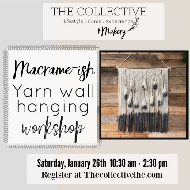 Macrame-ish yarn wall hanging workshop at The Collective lhe + Makery in Lisle, IL
