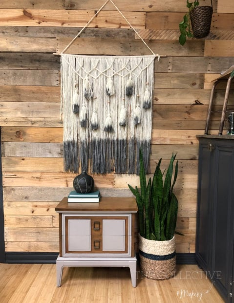 Boho yarn wall hanging with tassels and dip dyed yarn At The Collective lhe + Makery in Lisle, IL and Jennifer Rizzo