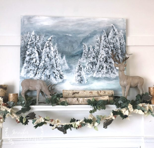 Jennifer Rizzo Winter Decor with a pine tree acrylic painting