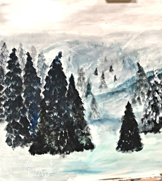 Pine tree underpainting Jennifer Rizzo