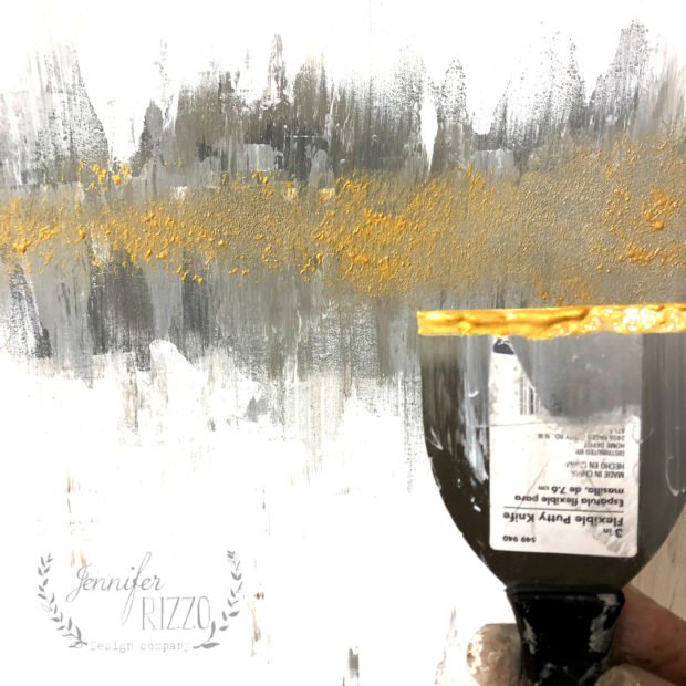 Apply gold paint to your abstract art with a putty knife Jennifer Rizzo