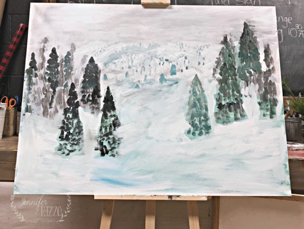 Winter scene painting layout