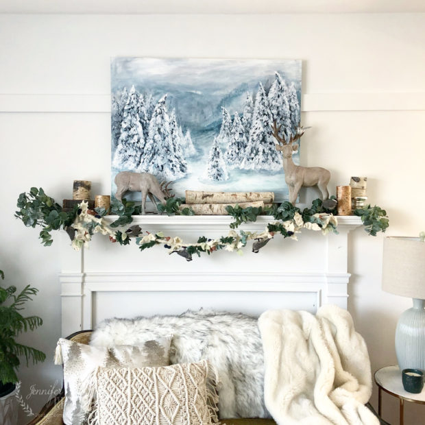 Jennifer Rizzo wintertime living room with pine tree acrylic painting
