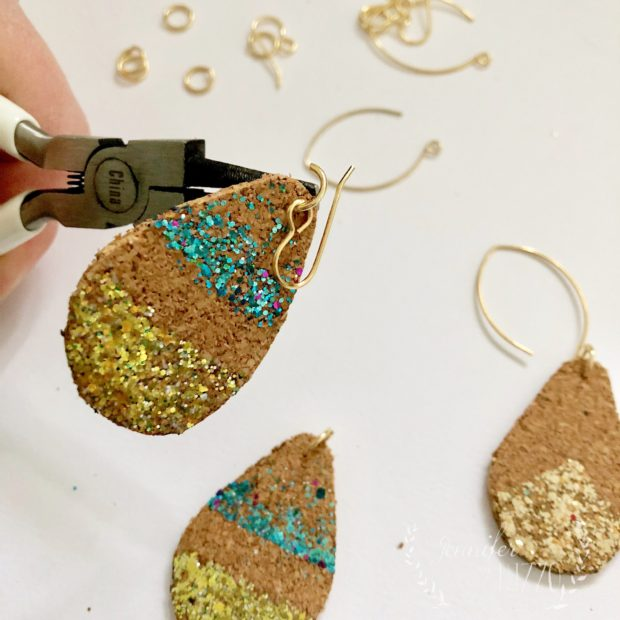 Making Cork Tear drop earrings