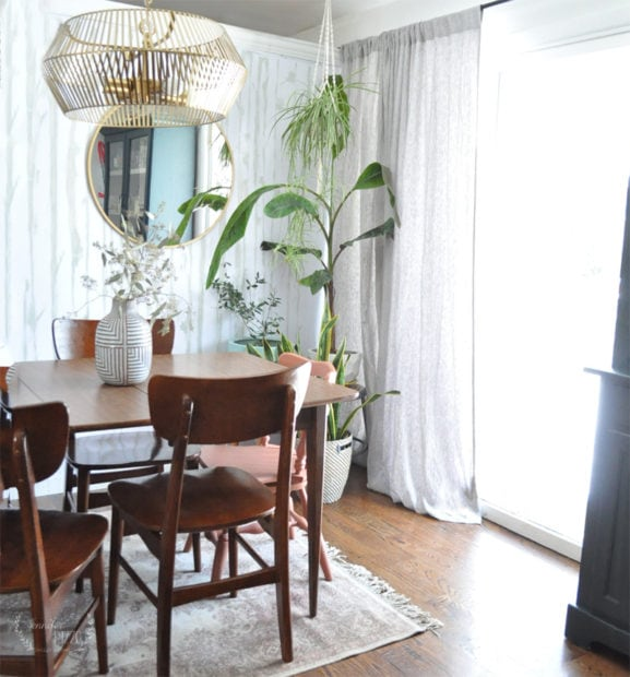 Dining room with plants and a Midcentury Modern touch