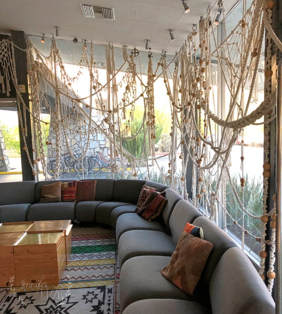 Giant macrame wall at The Ace Hotel Palm Springs Jennifer Rizzo