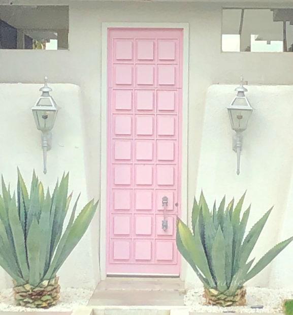 Famous pink Instagram door in Palm Springs