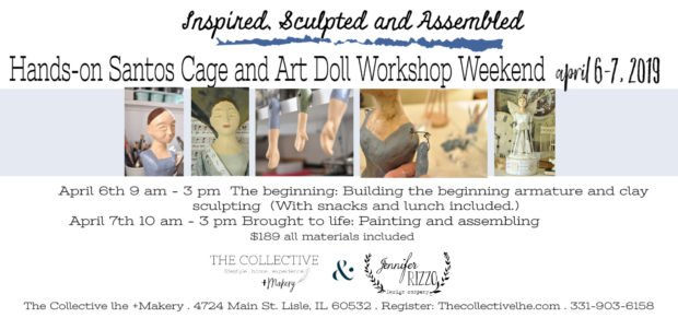 Santos and Art doll workshop at The Collective lhe + Makery in Lisle, IL hands on sculpture workshop