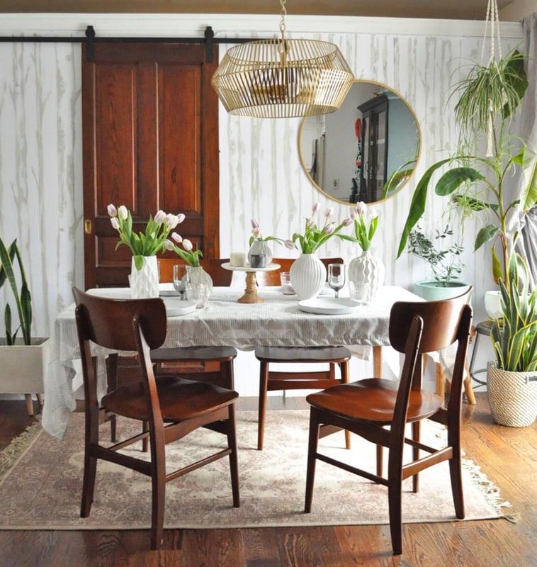 White vases in a spring centerpiece three different ways