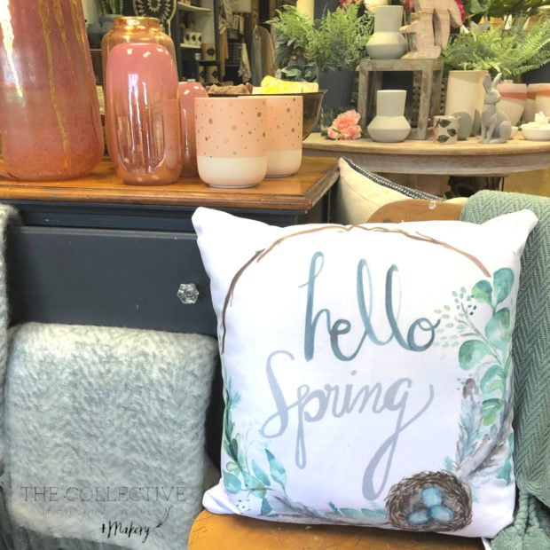 Hello Spring Pillow from The Collective lhe Wild & Bloom collection