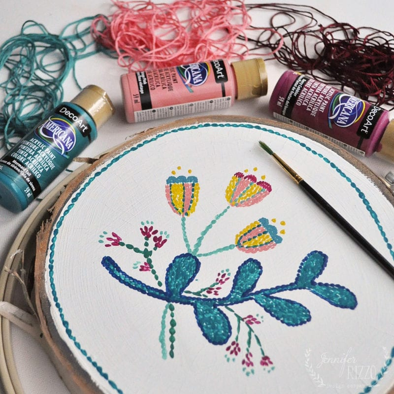 Painting a wood slice to look embroidered
