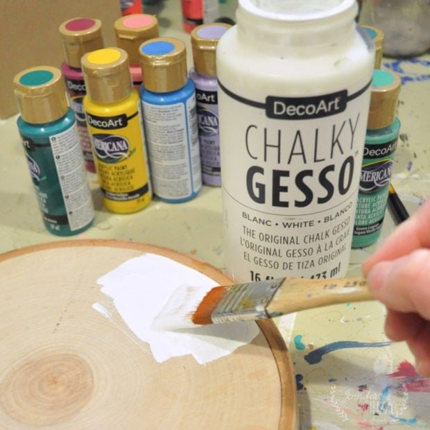 Painting Chalky Gesso on a wood slice