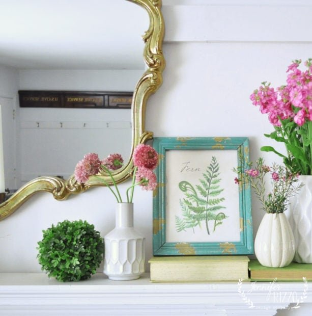 Spring mantel styled with free spring fern printbale