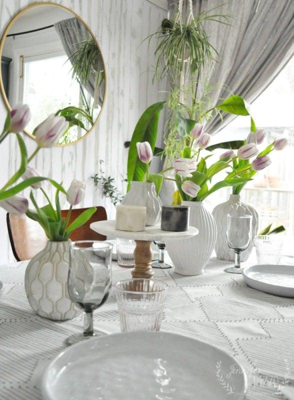 Table top tablescape idea with white vases Jennifer Rizzo