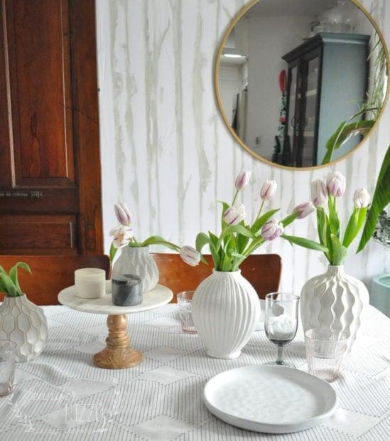 Tablescape wtth white vases Jennifer Rizzo