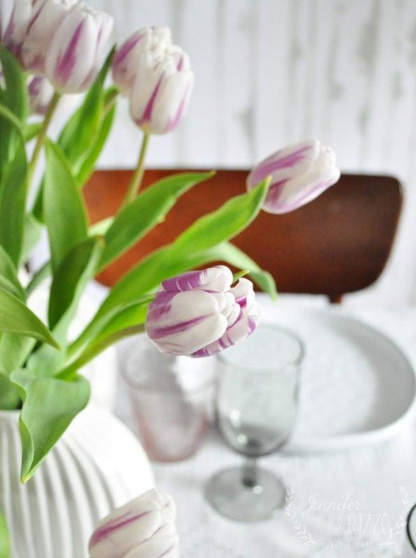 Upclose of tulip in white vases Jennifer Rizzo