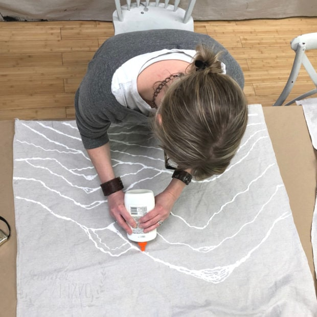 Make a large scale hanging canvas with glue resist and a painter's tarp Jennifer Rizzo