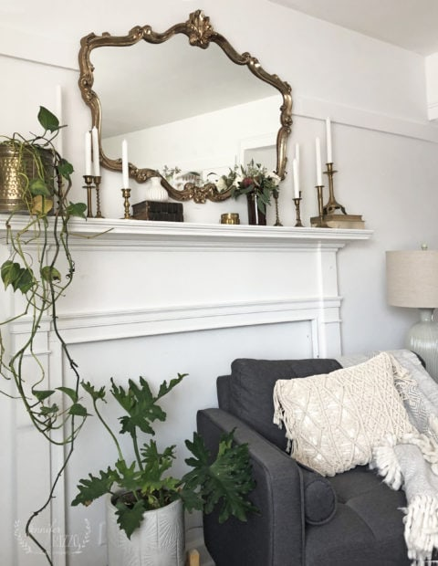 Faux mantel and vintage brass candlesticks