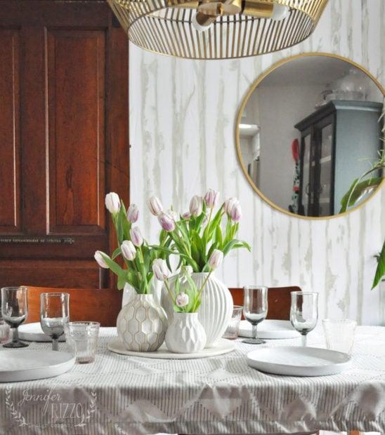 White vase table setting for spring Jennifer Rizzo