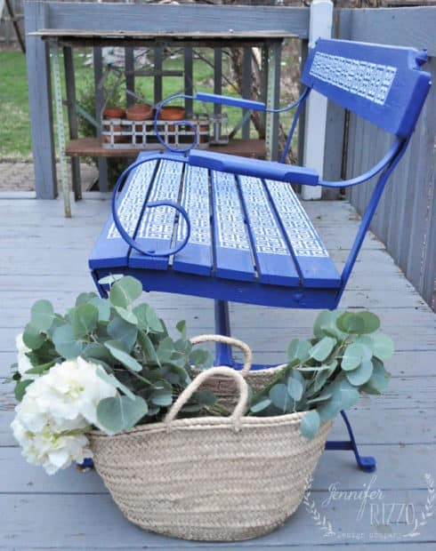 Blue stenciled outdoor bench makeover with stencil