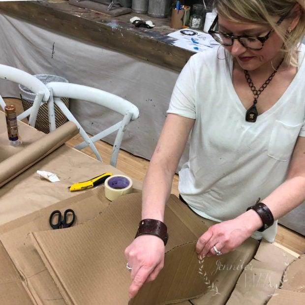 Jennifer Rizzo constructing a DIY large mod cardboard vase