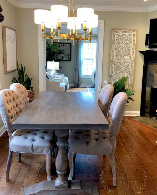 Final painted kitchen table makeover with a brown wash by Jennifer Rizzo