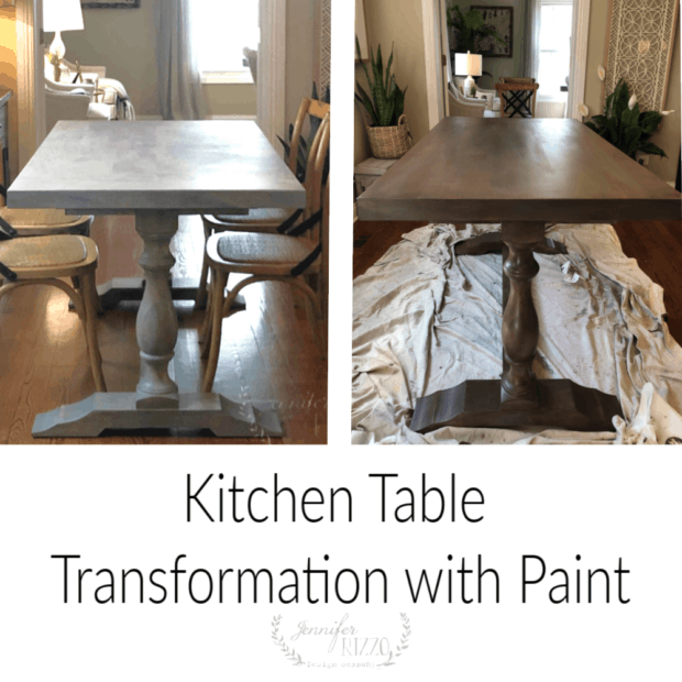 Painted kitchen table transformation. Use brown glaze and paint to turn an old table into a brand new one!