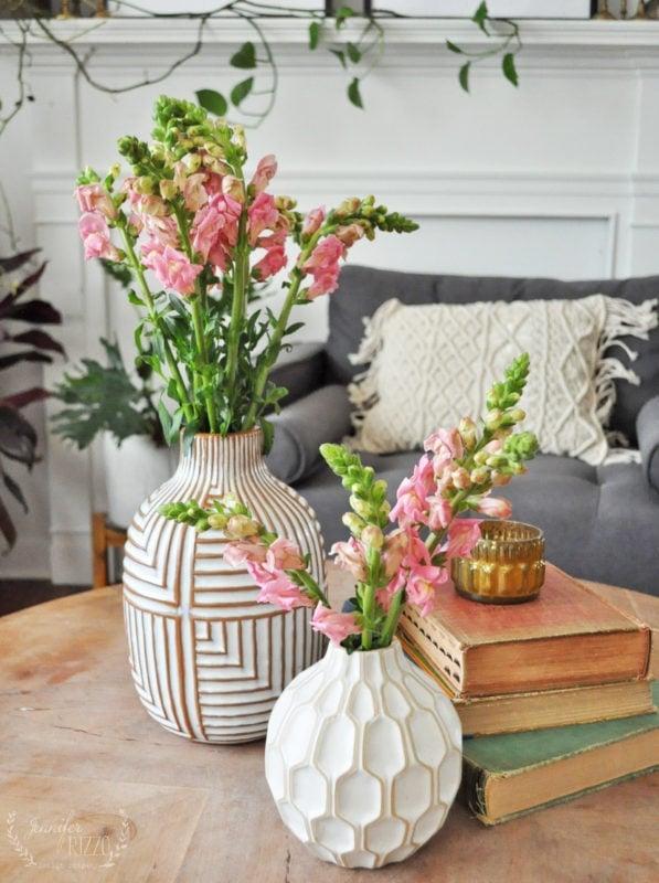 Snap dragons in a spring vase in livingroom Jennifer Rizzo