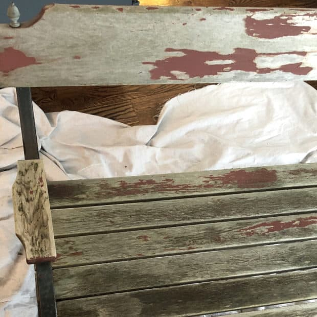 Weathered bench makeover before painting