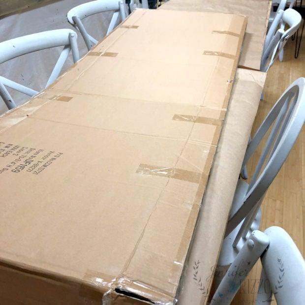 Making cardboard crafts with a giant cardboard box