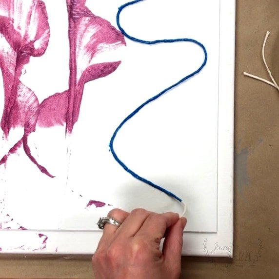 Add second and third colors to paint pulled abstract art