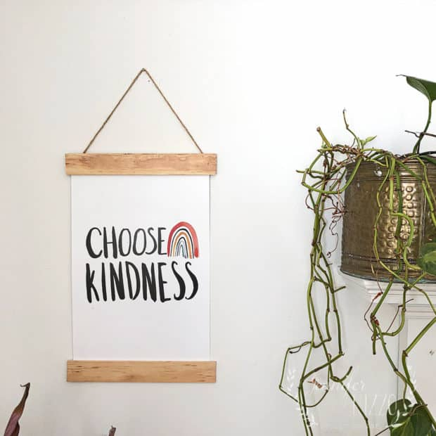 Choose Kindness DIY wood slat sign and free printable