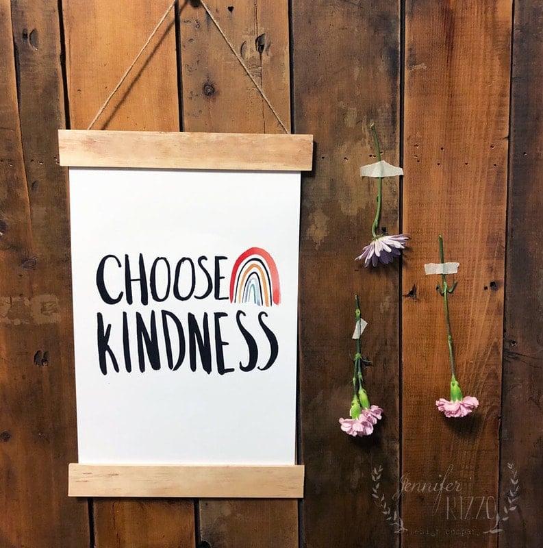 Choose Kindnesss DIY Wood Slat Hanging Sign with Free Printable