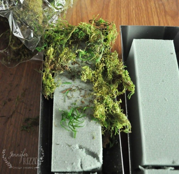Cut and place dry floral foam in mud trays