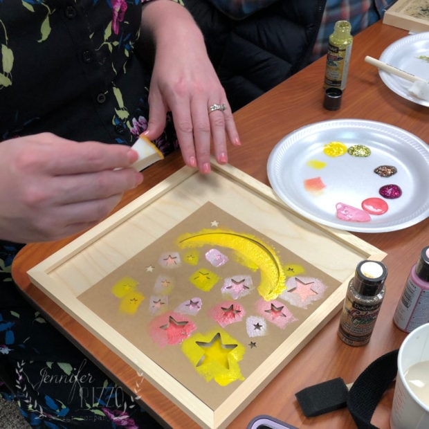 Use a cosmetic sponge for stencils instead of a stencil brush