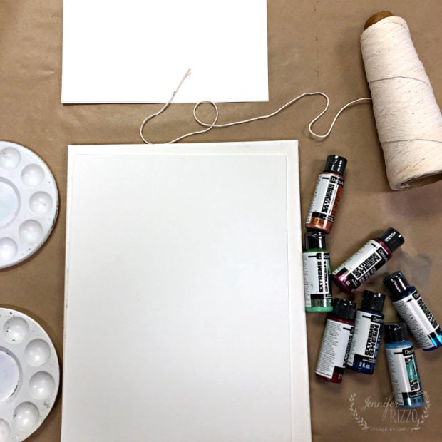 Supplies for paint pulled string painting
