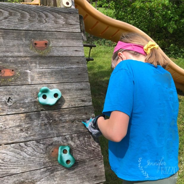 Removing climber holds in playset rehab