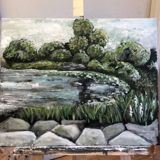 Acrylic landscape painting y Jennifer Rizzo