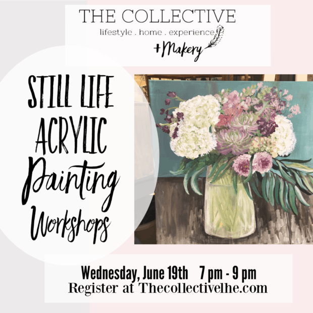 Still life acrylic floral painting workshop with Jennifer Rizzo