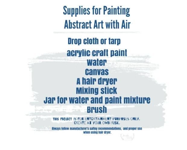 Supplies for painting abstract art with air
