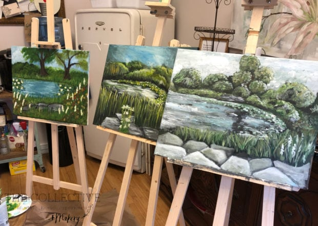 Plein air painting landscape workshop in acrylic paint with Jennifer Rizzo