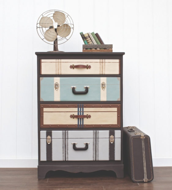 Suitcase dresser by Jen Crider the book Amazing Furniture Makeovers
