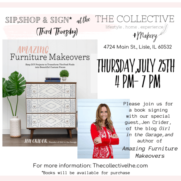 Book signing of Amazing Furniture Makeovers by Jen Crider Girl in the Garage