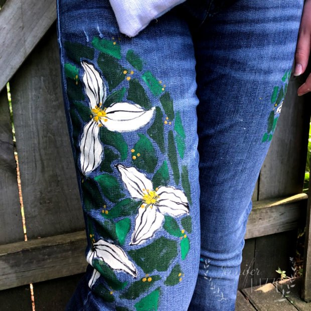DIY painted jeans with trilliums