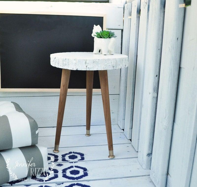 DIY Modern Rustic Wood Slice Three Leg Table or Plant Stand