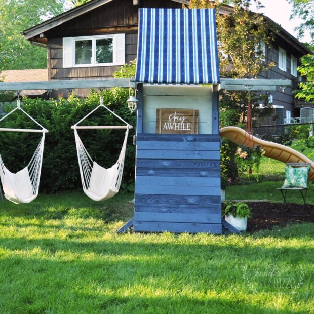 Makeover and old playset into a teen hangout