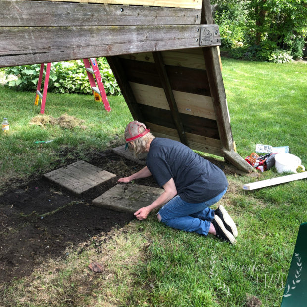 Using pavers as a base for a deck under a play set