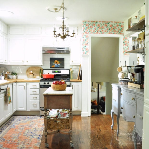 Kitchen view with vintage woven rug
