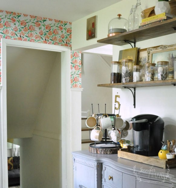 Open shelving and removable kitchen wall paper